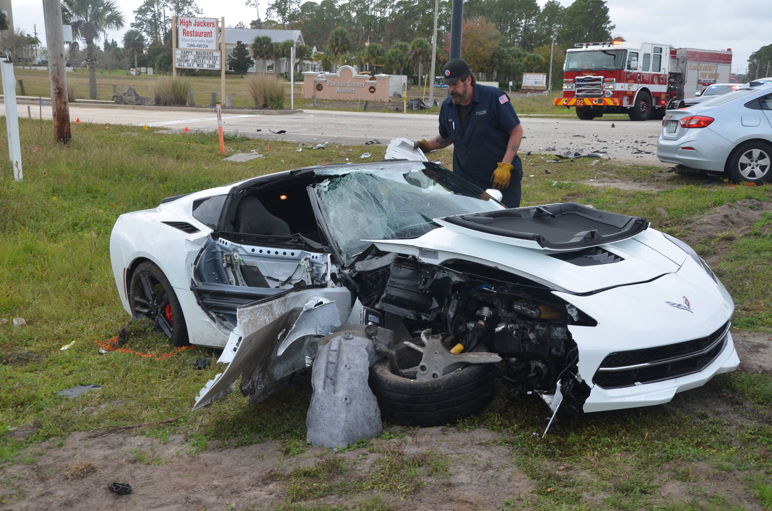The Corvette. Firefighters used the Jaws of Life to extricate the driver. (© FlaglerLive)