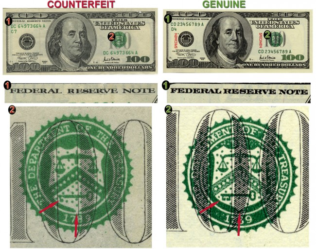counterfeit money warning