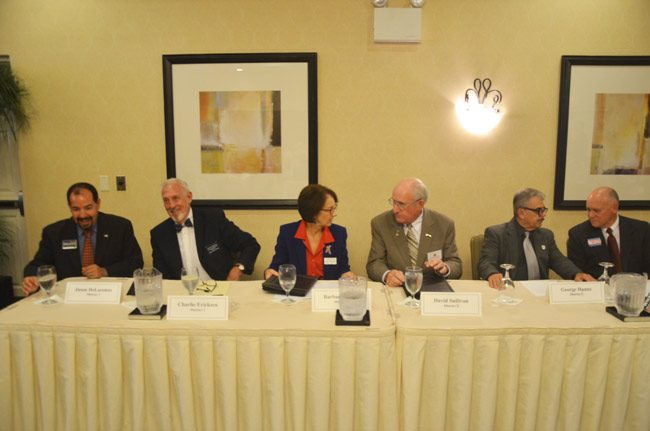 The Last Supper by half: From left, Jason DeLorenzo, Charlie Ericksen, Barbara Revels, Dave Sullivan, George Hanns and Donald O'Brien, last night at the Flagler Votes forum. (© FlaglerLive)