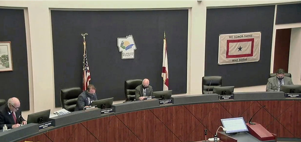 Flagler County Commissioners at today's meeting. From left, Dave Sullivan, Joe Mullins, Donald O'Brien, and Andy Dance. Greg Hansen, who is ill, was absent.