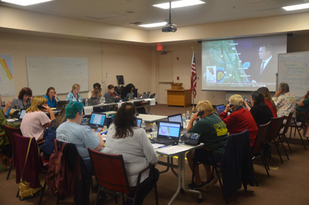 Customer service at full strength at Flagler County's Hurricane Call Center, which you may call at 386-586-5111. (© FlaglerLive)