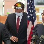 John Couriel and Renatha Francis at today's press conference where Gov. Ron DeSantis, center, announced the Supreme Court picks. (© FlaglerLive via Florida Channel)
