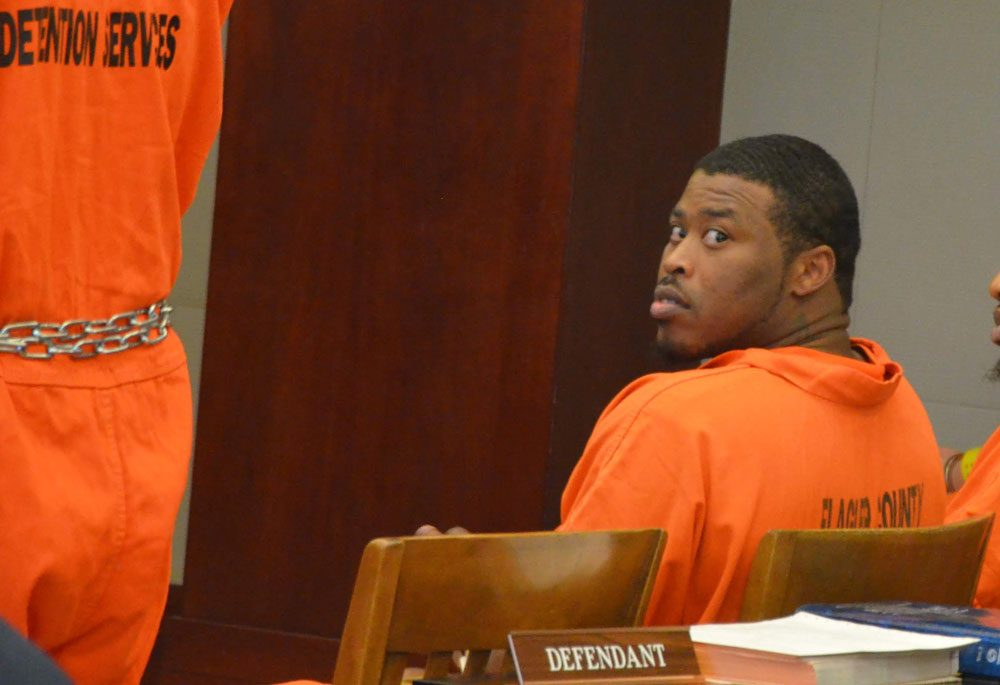 Johnnie Spydale Thomas Jr. in court this afternoon. (© FlaglerLive)