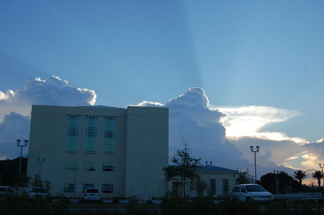 It's not clear if stormclouds are building or receding over the Flagler County courthouse. (© FlaglerLive)