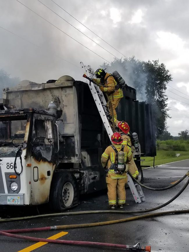 It was Waste Pro's second major incident in two days. On Monday, one of the hauler's garbage trucks ended up fully involved in fire on County Road 305..No one was injured. (Flagler County Professional Firefighters)