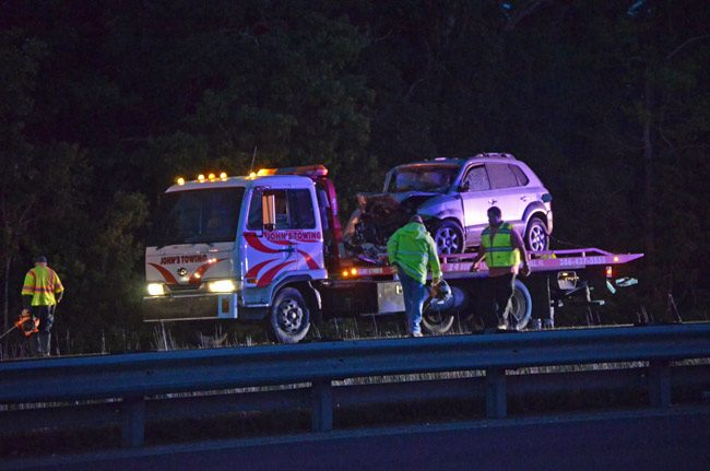 The scene of the crash on I-95 caused by a motorist going the wrong way last April. The motorist was killed. Moments earlier, he'd crossed paths with a deputy's cruiser on the exit ramp. (© FlaglerLive)