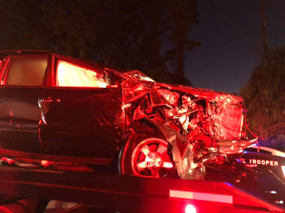 One of the seven vehicles in the I-95 crash Saturday night. (Dwayne Taylor/Roger's Towing)