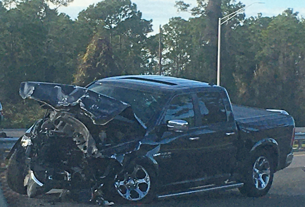 The Dodge Ram that rear-ended a vehicle on I-95, starting a chain reaction involving a total of four vehicles in what was the second crash of the afternoon. (© FlaglerLive)
