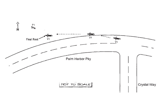 The diagram of the wreck included in the crash report.