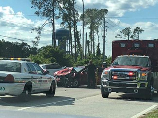 The scene on Old Kings Road moments after the crash. (© C. Evans for FlaglerLive)