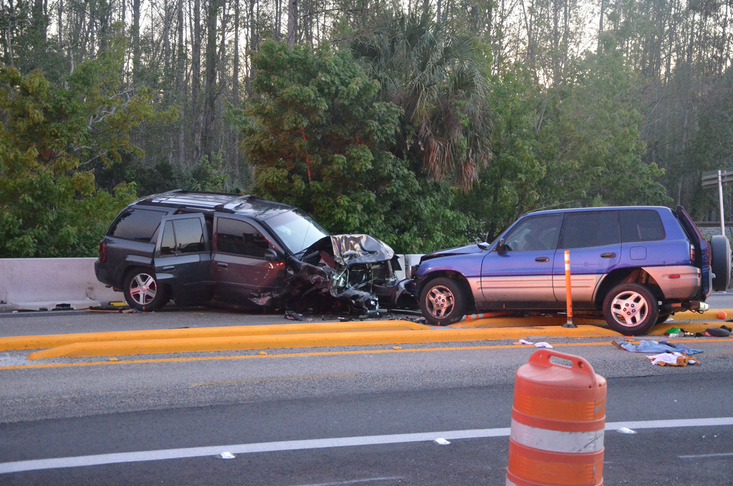 A family of five, including a 13-year-old girl and a toddler, were in the blue Toyota to the right and an off-duty Daytona Beach police officer was in the Chevy when the vehicles crashed this evening on U.S. 1 in the construction zone near Old Dixie Highway. Click on the image for larger view. (© FlaglerLive)