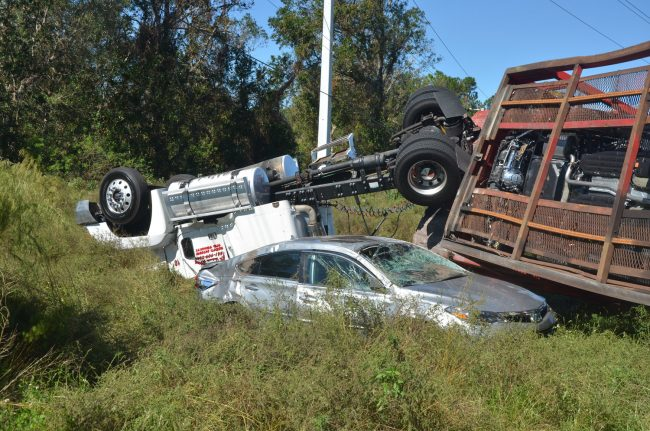 traffic crash car carrier toyota palm coast