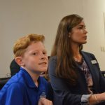 Matthew Carleton, a sixth grader at Wadsworth Elementary, and Anna Crawford, the principal at Wadsworth. The state Board of Education recognized both at a meeting in Bunnell Friday. (© FlaglerLive)