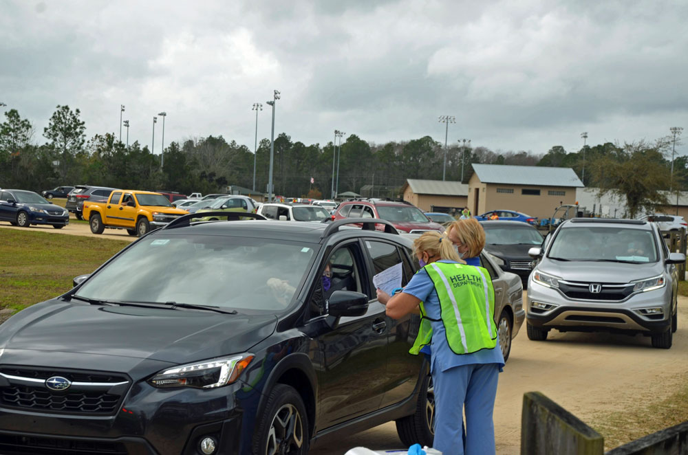 Vaccinations at the county fairgrounds in Flagler. (© FlaglerLive)