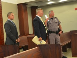 Deputy Christopher Crego, left, arriving in court with his attorney, Mike Finesilver. (© FlaglerLive)