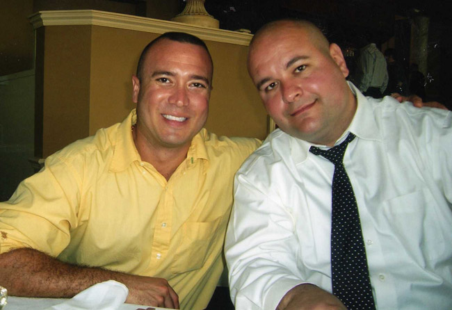 The late Josh Crews, left, and Joe Rizzo, a member of the Flagler County Education Foundation who was central to the fundraiser.