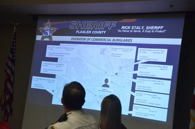 Where the commercial burglaries are: the sheriff's weekly Crimemaps meetings analyze raw intelligence and map out hot spots to more effectively target crime-fighting. (© FlaglerLive)