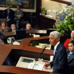 Gov. Charlie Crist at the Legislature in 2007, when Marco Rubio, right, and John Thrasher, toward the left, were among the cast of characters. (Mark Foley/Florida Memory)