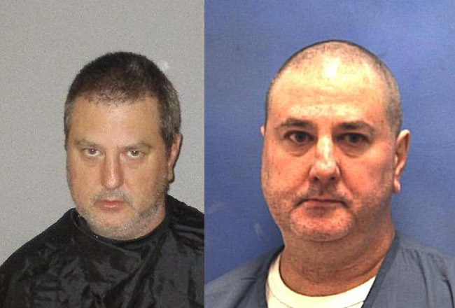 Raymond Crown in a Flagler jail booking photo, left, and in his just-taken Florida prison photo.