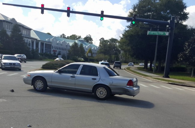 The damaged Crown Victoria. Click on the image for larger view. (FCSO)