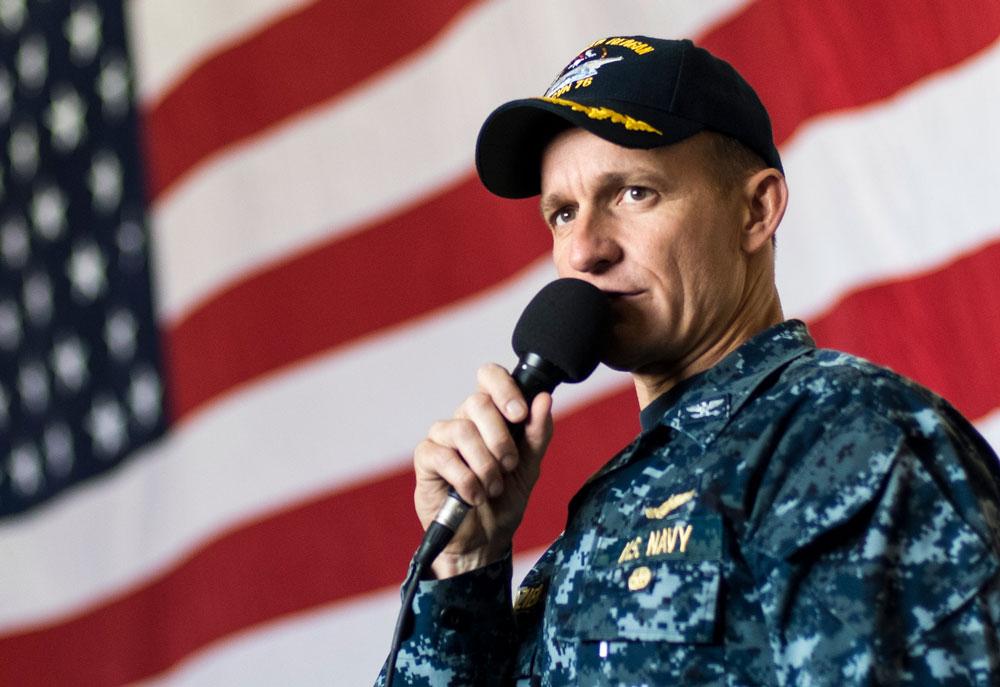 Capt. Brett Crozier, in 2016, when he was the executive officer of the USS Ronald Reagan. (U.S. Navy Ryan McFarlane)