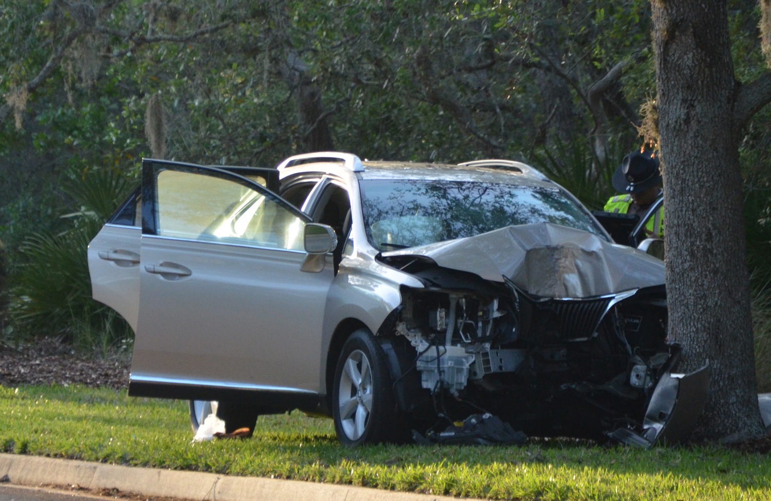 The Lexus struck an oak head on. Click on the image for larger view. (c FlaglerLive)