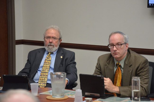Council members Bob Cuff, left, and Vincent Lyon, both lawyers, resisted a suggestion to further delay the search for a new city manager. (© FlaglerLive)