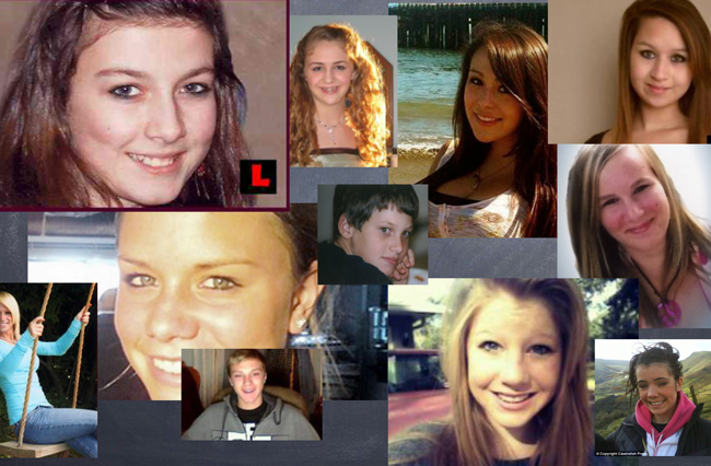 Cyberbullying's victims, in a collage that ends Colleen Conklin's presentation on the subject.