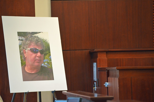Dana Mulhall's portrait was displayed twide Tuesday for jurors during the prosecution's case against Paul Miller, who is accused of murdering Mulhall in Flagler Beach in March 2012. (© FlaglerLive)