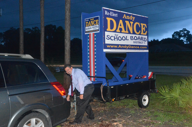 Andy Dance appeared headed for the biggest win of the night locally, retaining his seat on the school board. (© FlaglerLive)