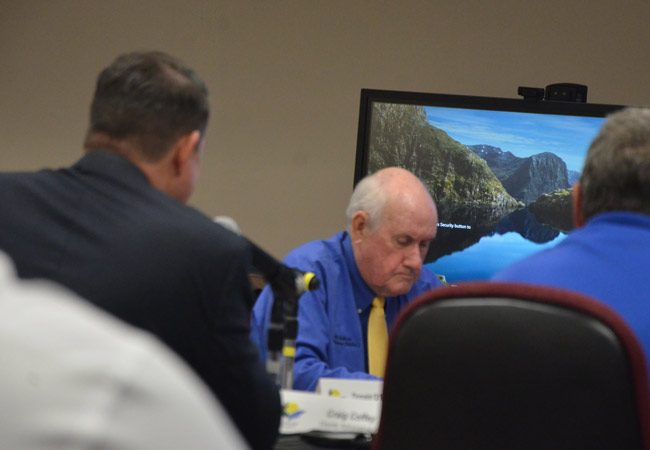 Commissioner Dave Sullivan at today's workshop on Bing's Landing, before he made his statement on the Sheriff's Operations Center. 'At some point,' he said, 'you've got to look around and say this is insane, what we're doing to the Sheriff's Operations Center.' (© FlaglerLive)