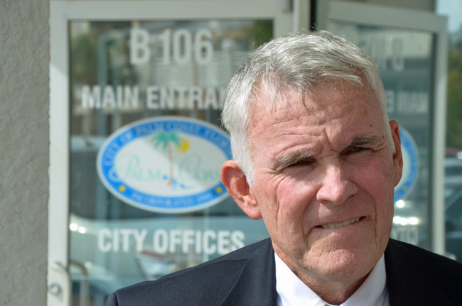 David Ferguson, moments after his appointment to the Palm Coast City Council Tuesday. (© FlaglerLive)