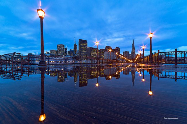 The  San Francisco cityscape at pier 7. (David Yu)
