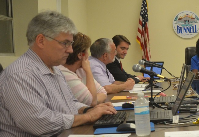 Deputy City Clerk Dan Davis, first on the left, is among the three internal applicants vying to replace Bunnell City Manager Larry Williams, third from left. (© FlaglerLive)