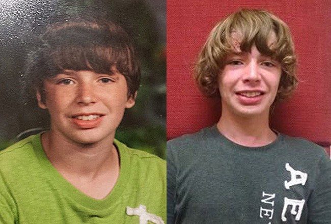 Dawson King in an image his mother circulated when he ran away in November, left, and an image the sheriff's office circulated on Jan. 20.