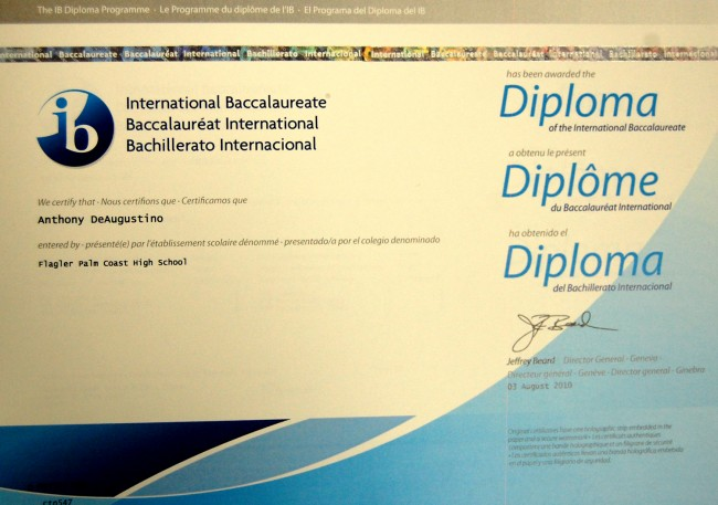 The proverbial piece of paper: Anthony deAugustino's IB Diploma. (© FlaglerLive)