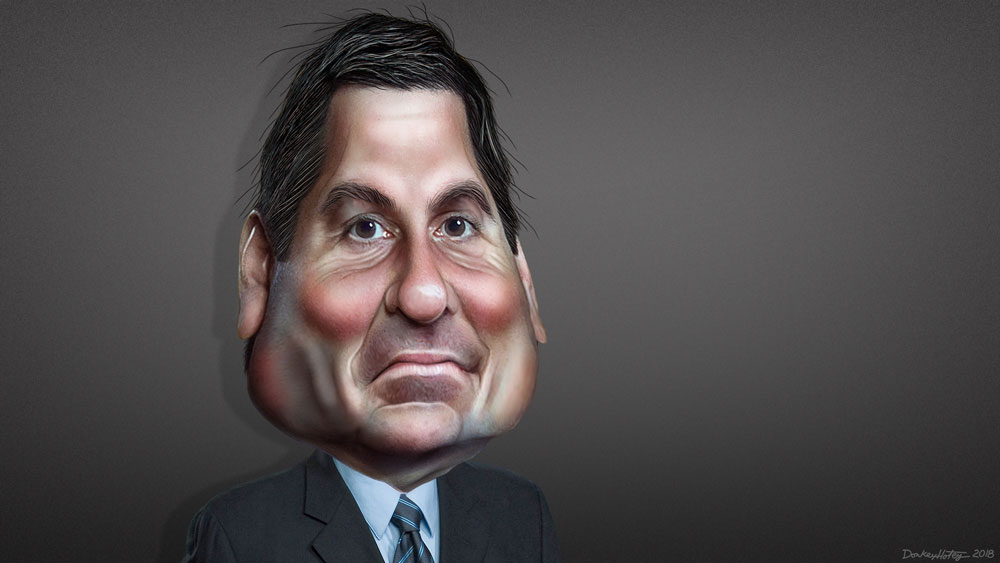 Devin Nunes, the California House Republican, interpreted by DonkeyHotey. Caricature