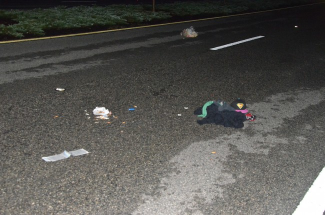 Debris from the wreck involving the cyclist. Click on the image for larger view. (© FlaglerLive)
