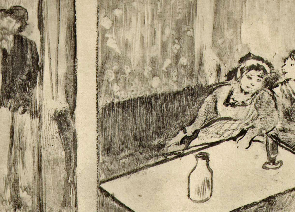"""An etching by Edgar Degas for """"La Maison Tellier,"""" Guy de Maupassant's 1881 story of a a provincial brothel."""