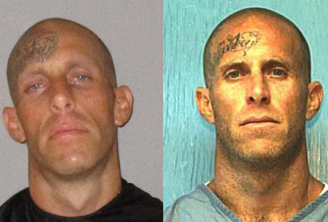 Jonathan DeMartino in his Flagler jail booking photo, left, and his state prison photo.