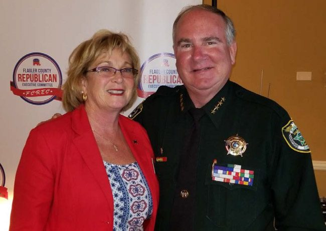 Sharon Demers and Sheriff Rick Staly, post-Heimlich. (FCSO)