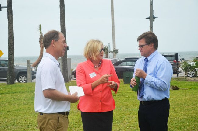 The three Democratic candidates for the 6th Congressional District that includes Flagler County, in Flagler Beach last Sunday. From left, John Upchurch, Nancy Soderberg and Stephen Sevigny. (© FlaglerLive)