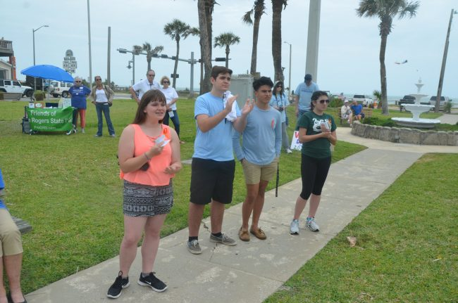 Democrats in waiting: From left, Flagler Palm Coast High School freshman Savanna Dacosta, Junior Tyler Perry, who also heads the school's Student Government Association, Junior Michael Pierre, and Senior Mia Scarcella. Click on the image for larger view. (© FlaglerLive)
