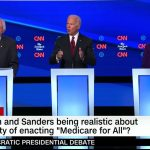 Bernie Sanders, Joe Biden and Elizabeth Warren during Tuesday's Democratic presidential debate on CNN. (© FlaglerLive via CNN)
