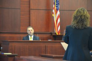 Flagler Sheriff's detective Dennis Lashbrook, who investigated the case, on the stand this afternoon. (© FlaglerLive)