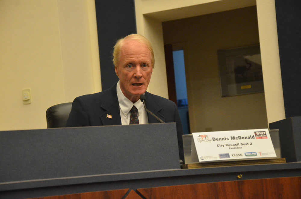 Dennis McDonald during a candidate forum last year, when he was running for a Palm Coast City Council seat. (© FlaglerLive)