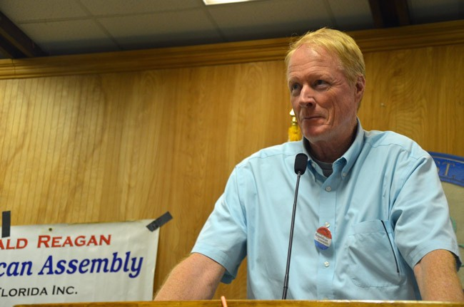 Dennis McDonald's public involvement in local politics have been active and varied despite a fall he suffered on a Palm Coast sidewalk in March 2013. (© FlaglerLive)