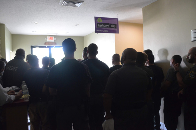 Deputies, many of them school resource deputies assigned to Flagler's 11 public and charter schools, during active-shooter training last week. (c FlaglerLive)
