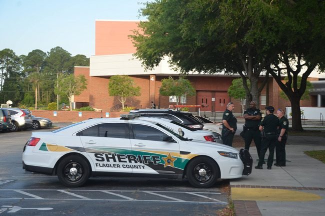 Sheriff's deputies at Flagler Palm Coast High School last week, on a day when security was stepped up. (© FlaglerLive)