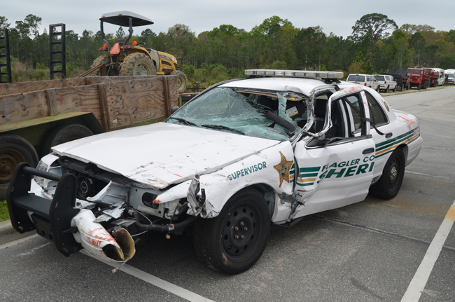 Sgt. John Bray, a 12-year veteran of the Sheriff's Office, was seriously injured when his cruiser rear-ended a motorist on U.S. 1 on Monday. (c FlaglerLive)